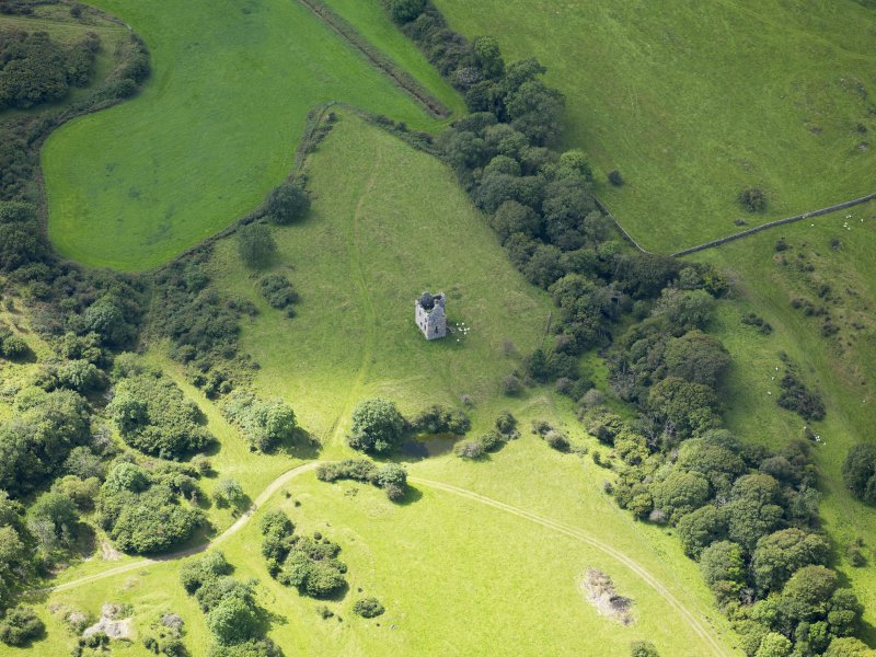 Oblique aerial view of Plunton Castle, taken from the NE.