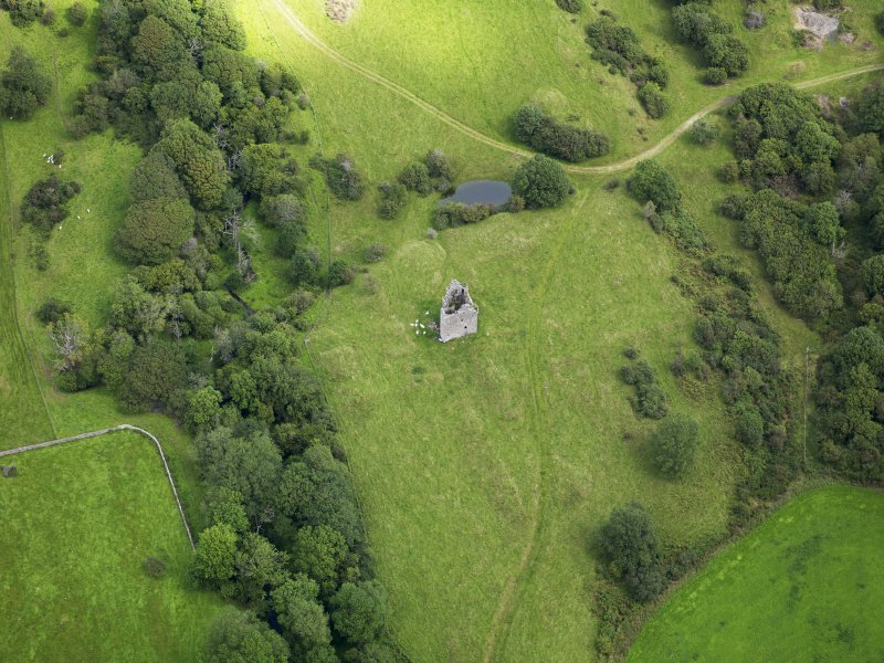 Oblique aerial view of Plunton Castle, taken from the SW.