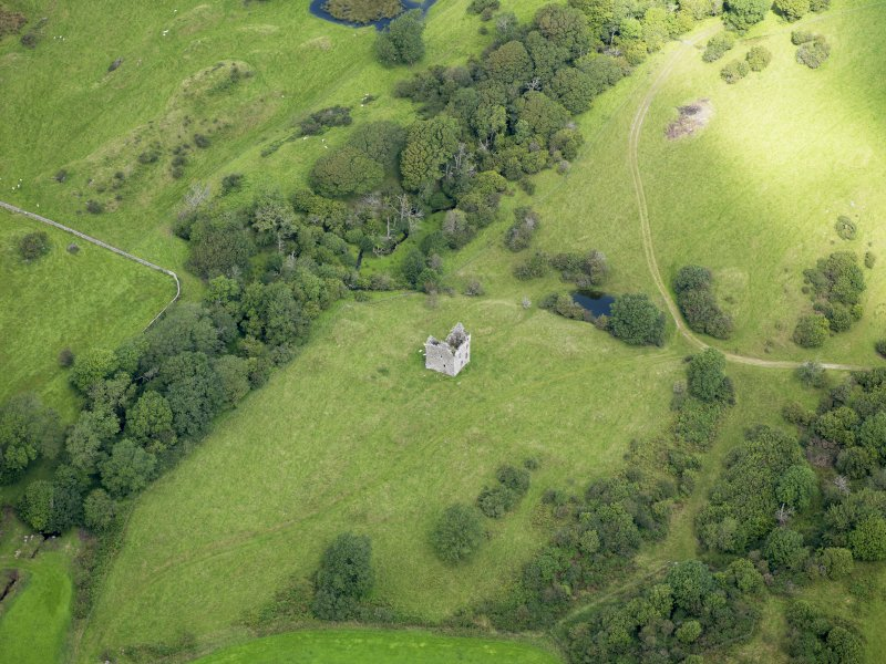 Oblique aerial view of Plunton Castle, taken from the S.
