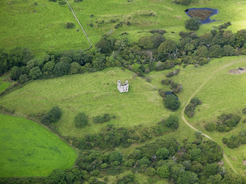 Oblique aerial view of Plunton Castle, taken from the SE.