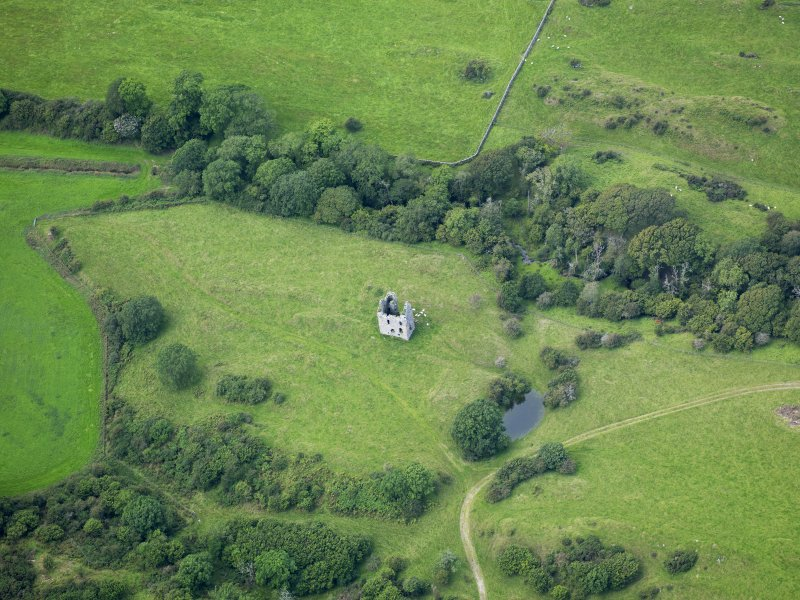 Oblique aerial view of Plunton Castle, taken from the E.