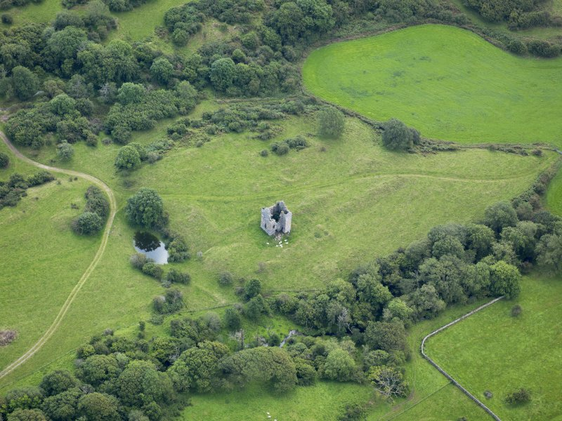 Oblique aerial view of Plunton Castle, taken from the NNW.