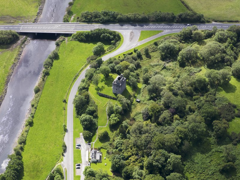 Oblique aerial view of Cardoness Castle, taken from the NNE.
