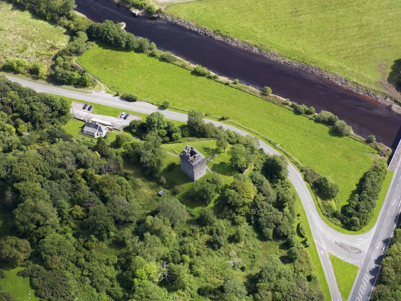 Oblique aerial view of Cardoness Castle, taken from the WNW.