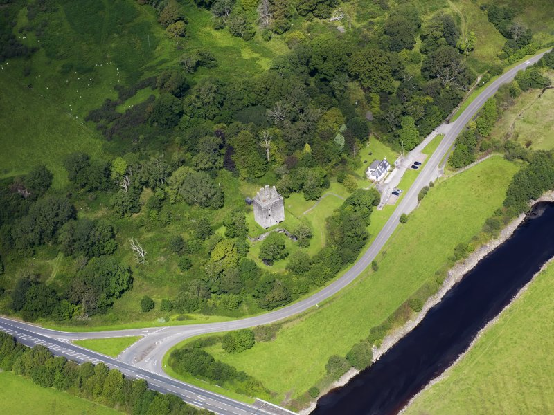 Oblique aerial view of Cardoness Castle, taken from the S.