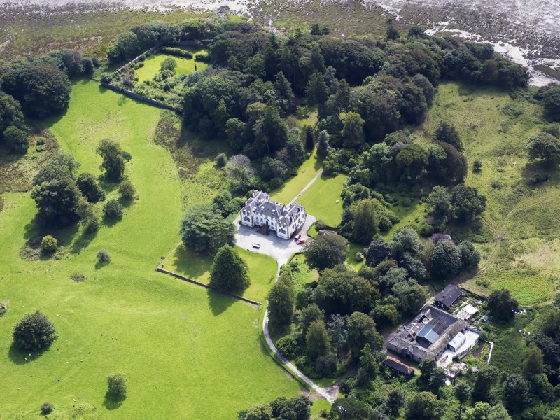 General oblique aerial view of Ardwall House and policies, taken from the NNW.
