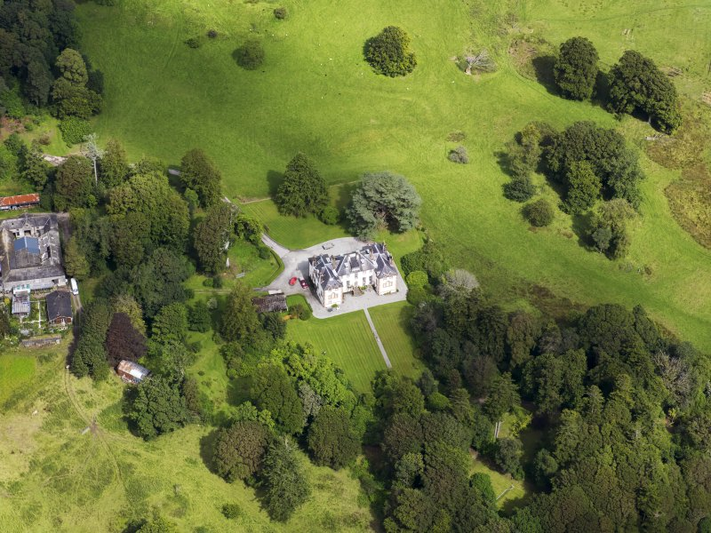 Oblique aerial view of Ardwall House, taken from the SSW.