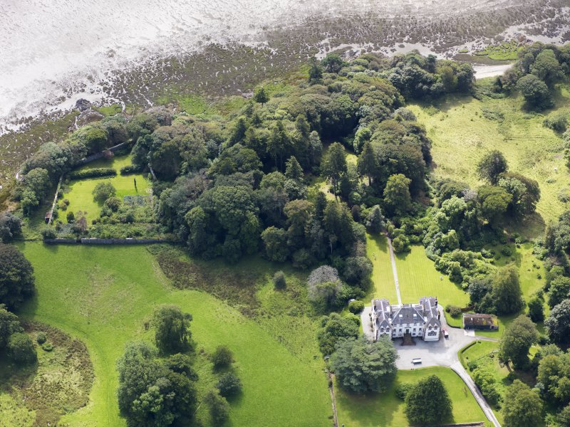 Oblique aerial view of Ardwall House, taken from the NNE.