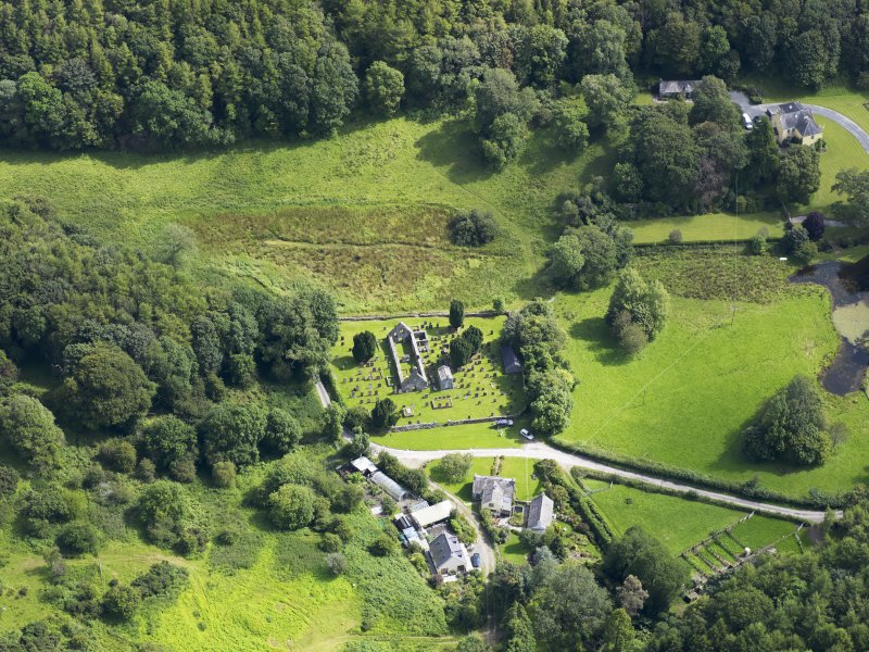 Oblique aerial view of Anworth Old Kirk, taken from the NW.