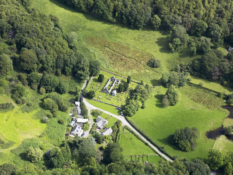 Oblique aerial view of Anworth Old Kirk, taken from the W.