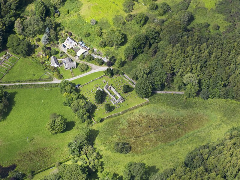 Oblique aerial view of Anworth Old Kirk, taken from the SE.
