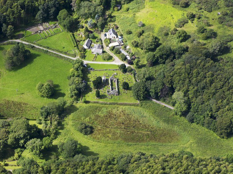 Oblique aerial view of Anworth Old Kirk, taken from the E.