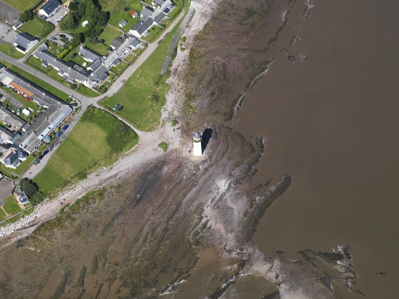 Oblique aerial view of Southerness Lighthouse, taken from the SSW.