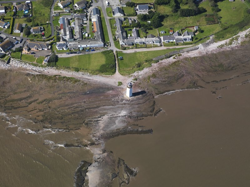 Oblique aerial view of Southerness Lighthouse, taken from the SE.