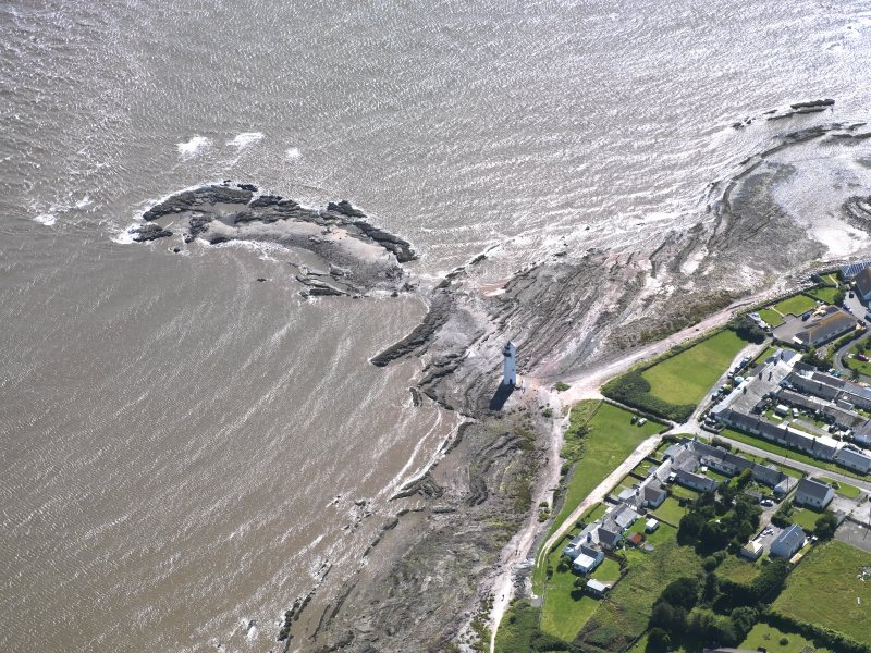 Oblique aerial view of Southerness Lighthouse, taken from the NNE.
