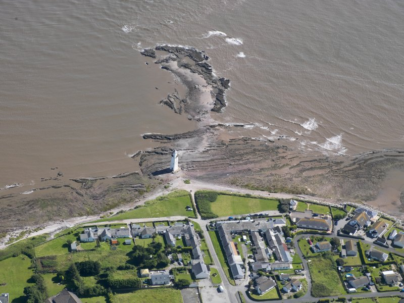 Oblique aerial view of Southerness Lighthouse, taken from the NW.