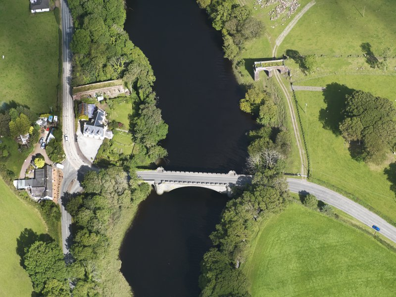 Oblique aerial view of Tongland Bridge, taken from the WSW.