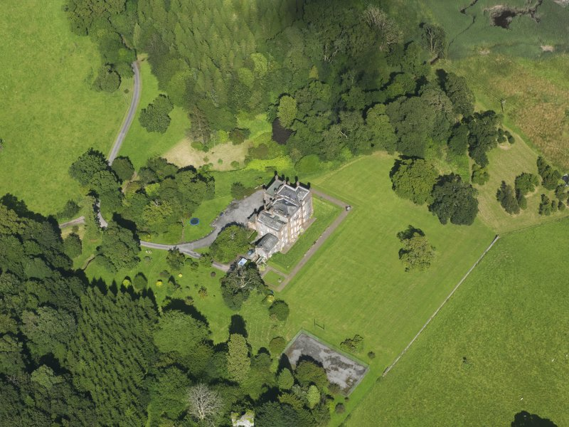 Oblique aerial view of Cumstoun House, taken from the SW.