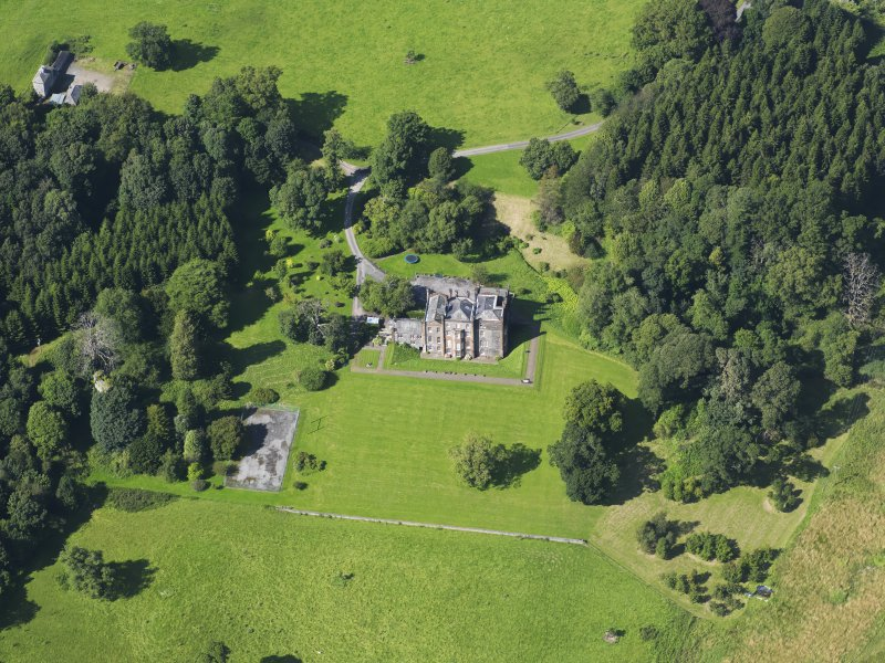 Oblique aerial view of Cumstoun House, taken from the SSE.