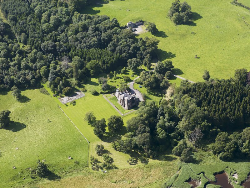 Oblique aerial view of Cumstoun House, taken from the ESE.