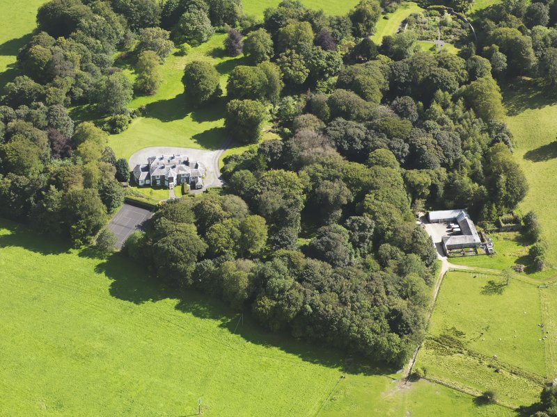 Oblique aerial view of Barwhinnock House, taken from the NNW.
