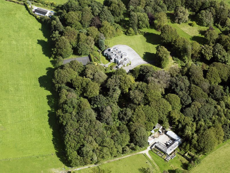 Oblique aerial view of Barwhinnock House, taken from the WNW.
