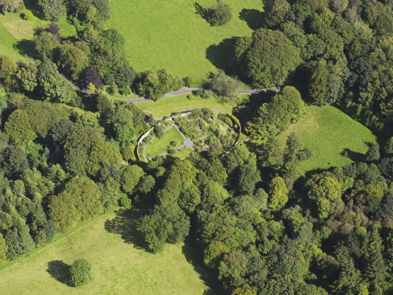 Oblique aerial view of Barwhinnock House walled garden, taken from the W.