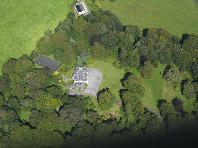 Oblique aerial view of Barwhinnock House, taken from the WSW.