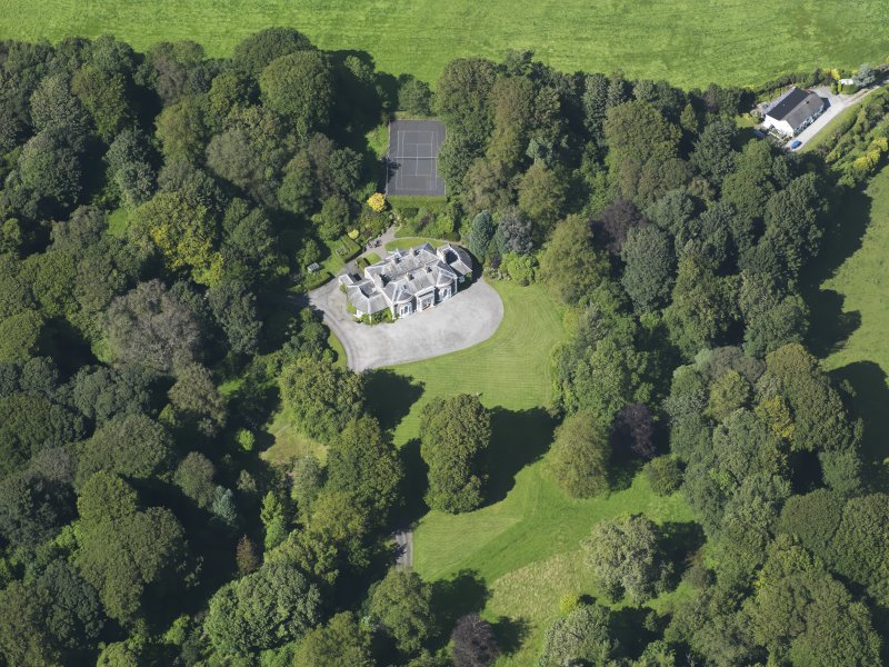 Oblique aerial view of Barwhinnock House, taken from the S.