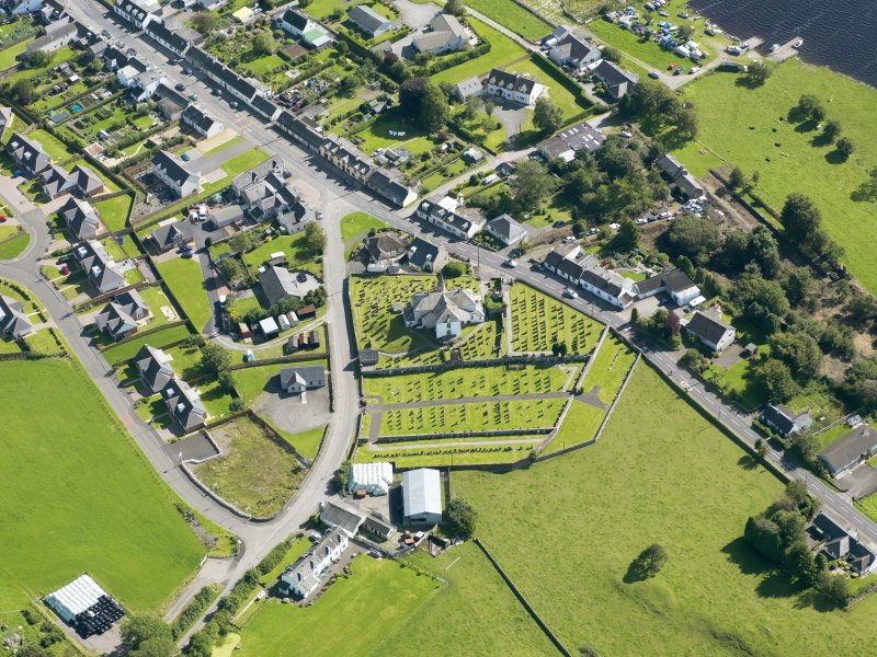 Oblique aerial view of Crossmichael Parish Church, taken from the N.