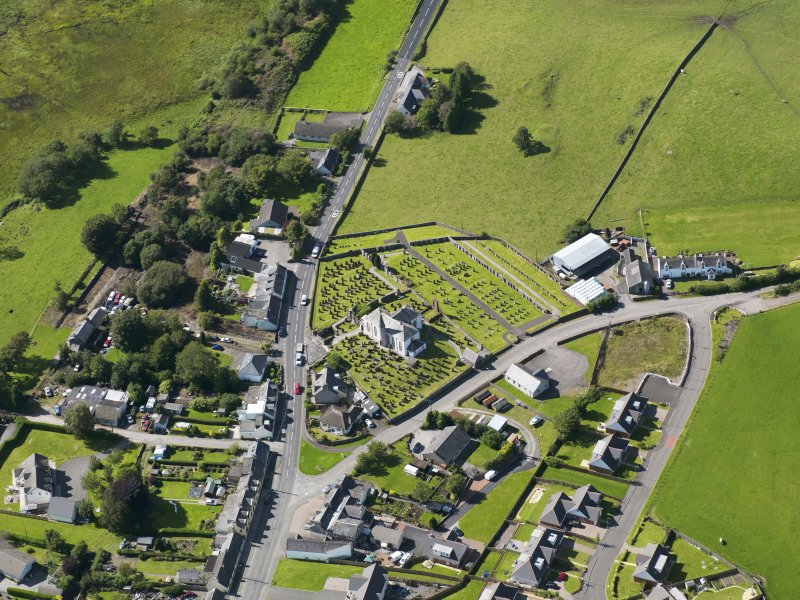 Oblique aerial view of Crossmichael Parish Church, taken from the SE.