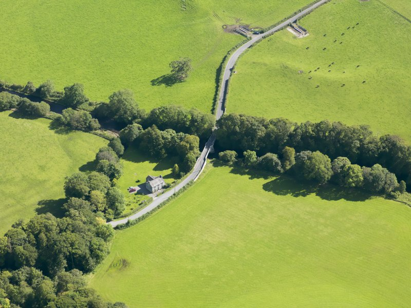 Oblique aerial view of Haugh Bridge, taken from the NNW.