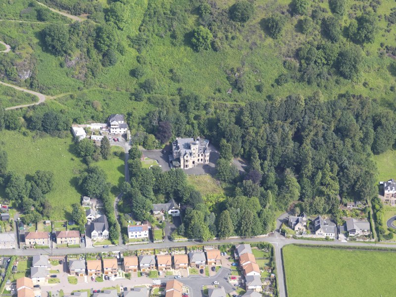 Oblique aerial view centred on Broomhall country house, taken from the S.