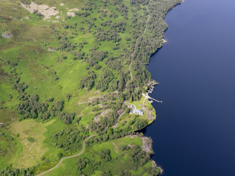 General oblique aerial view of Loch Katrine Royal Cottage, taken from the E.