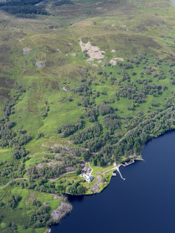 General oblique aerial view of Loch Katrine Royal Cottage, taken from the NE.