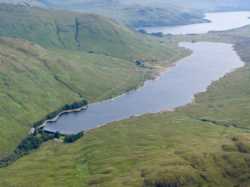 General oblique aerial view of Loch Arklet Reservoir, taken from the SW.