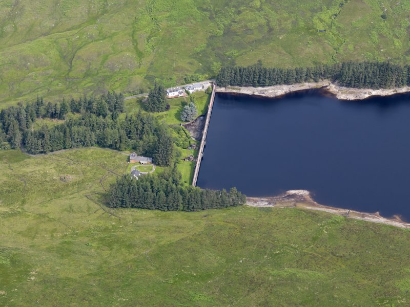 Oblique aerial view of Loch Arklet Reservoir Dam, taken from the S.