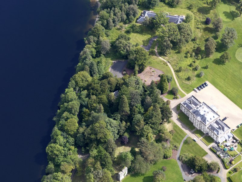 Oblique aerial view of Rossdhu House, taken from the SW.