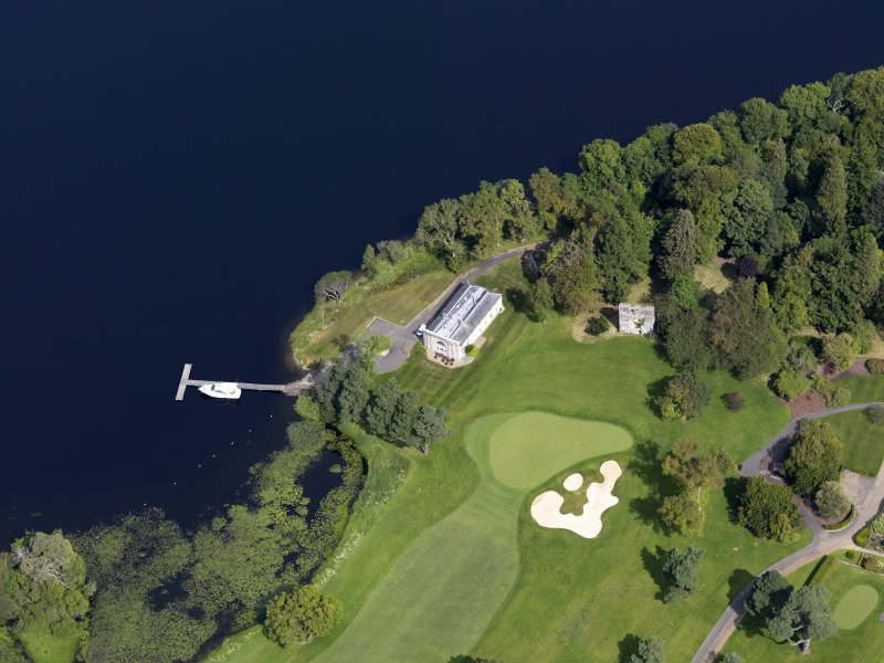 Oblique aerial view of Rossdhu House stables and boathouse, taken from the SSE.