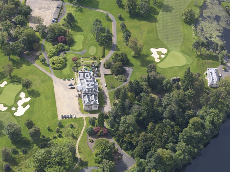 Oblique aerial view of Rossdhu House and policies, taken from the NNE.