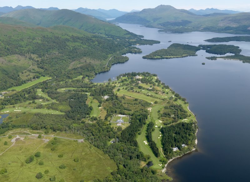 General oblique aerial view of Rossdhu House and Loch Lomond Golf Course, taken from the SSE.