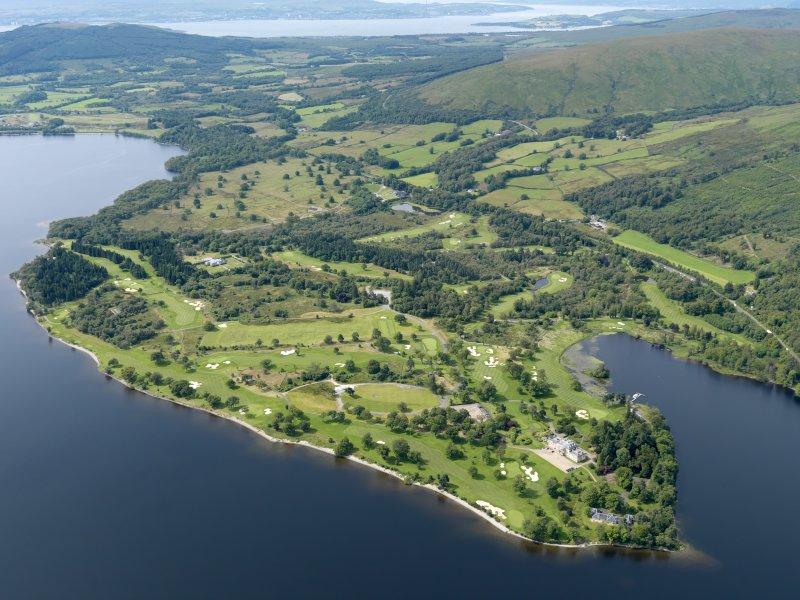 General oblique aerial view of Rossdhu House and Loch Lomond Golf Course, taken from the NE.
