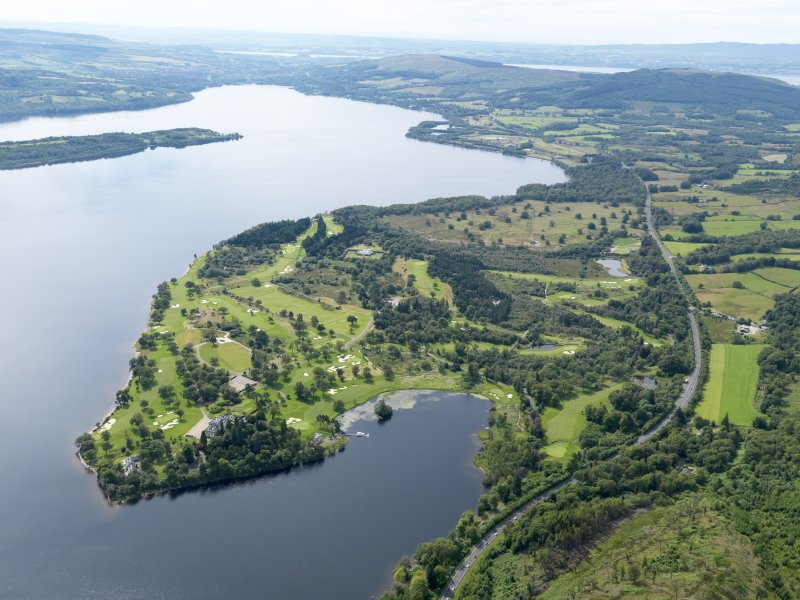 General oblique aerial view of Rossdhu House and Loch Lomond Golf Course, taken from the NW.