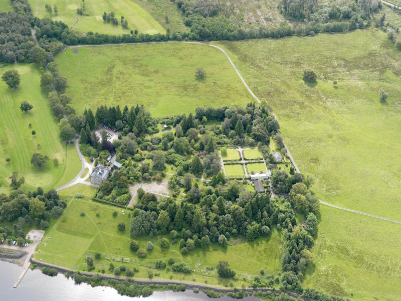 Oblique aerial view of Ross Priory and policies, taken from the NW.