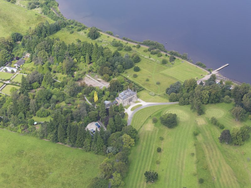 Oblique aerial view of Ross Priory and policies, taken from the ESE.