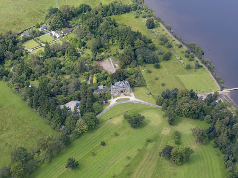 Oblique aerial view of Ross Priory and policies, taken from the ENE.