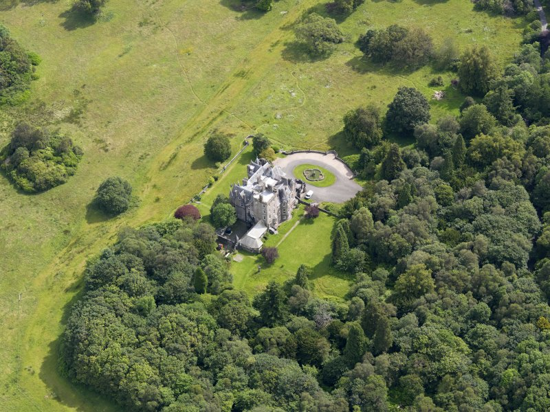Oblique aerial view of Auchendennan Castle, taken from the W.