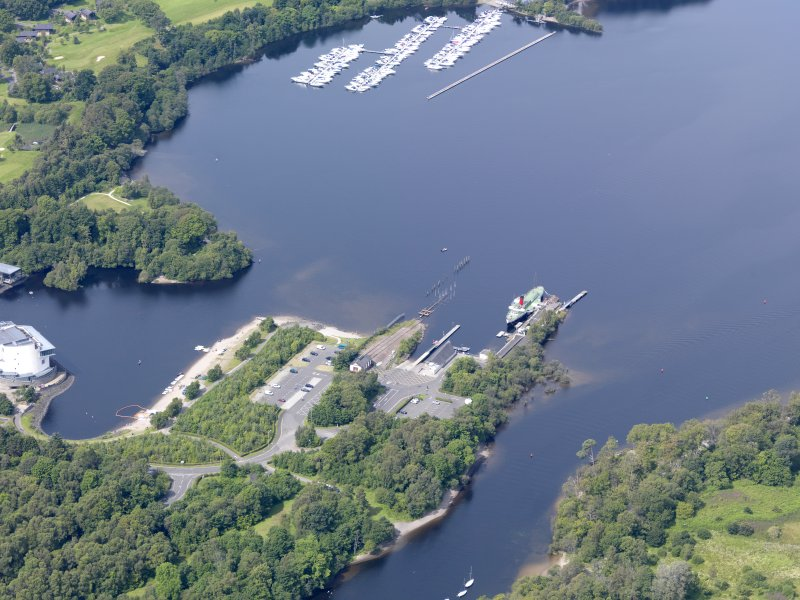 General oblique aerial view of Balloch Pier, taken from the E.