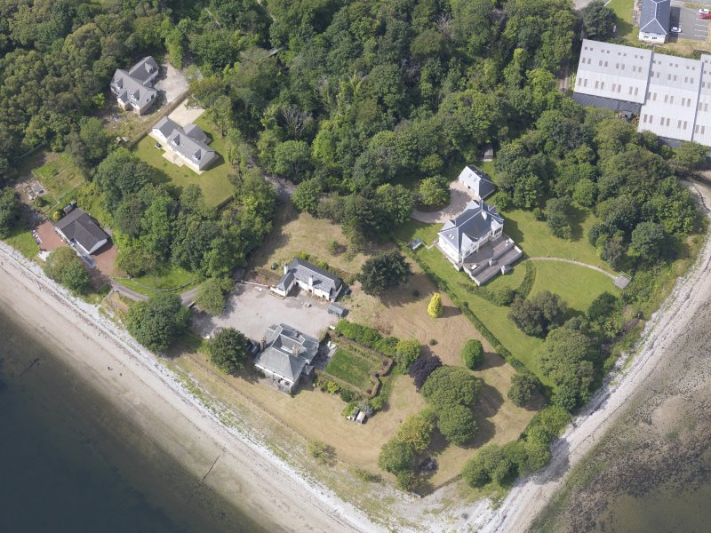 Oblique aerial view of Limekiln Point Ferry Inn, taken from the ENE.
