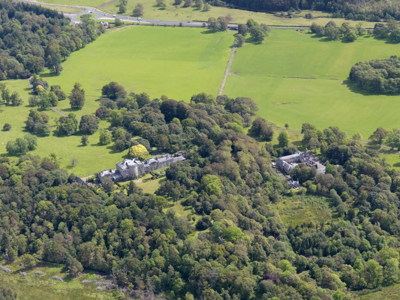 General oblique aerial view of Ardgowan House and policies, taken from the W.